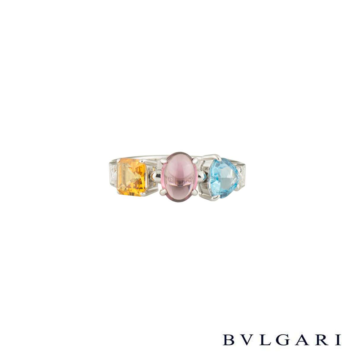 Bvlgari White Gold Multi-Gemstone Allegra Ring